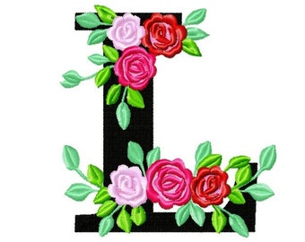 Roses floral Individual letter L garden flag monogram roses crown flowers flower Font machine embroidery design 2, 3, 4, 5, 6, 7, 8 in