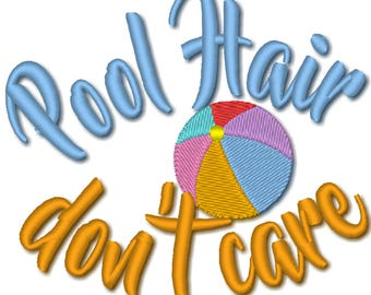 Pool Hair don't care machine embroidery designs assorted sizes 4x4 and 5x7 - hat design summer beach sea  embroidery