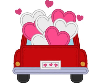 Vintage station wagon red truck back with hearts in the back, red truck with floating hearts machine embroidery applique designs