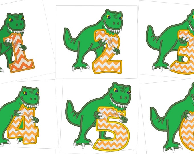 T-rex dinosaur Birthday numbers set  1- 6 machine embroidery Birthday outfit designs - for hoops 4x4, 5x7, 6x10  INSTANT DOWNLOAD