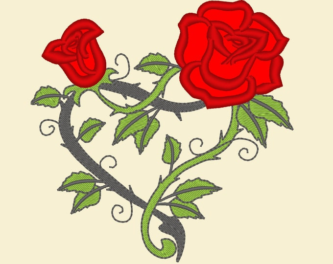 Roses heart - machine embroidery applique designs - 4x4, 5x7 and 6x10  INSTANT DOWNLOAD