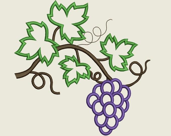 Grape, Wine leaves, Medium, wine leaves vine, vine leaf, leaves, vine - machine embroidery applique designs, available combinations