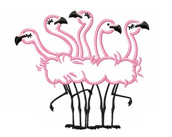 Flamingos - machine embroidery applique designs flamingo for 5x7, 6x10 INSTANT DOWNLOAD,