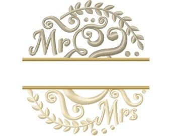 MR and MRS split towel or garden flag monogram circle laurel leaves & mini Font machine embroidery designs  monogram ampersand wedding gift