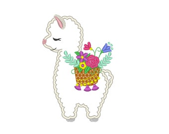 Floral Summer Llama with floral basket, flowers bouquet Lama machine embroidery applique design INSTANT DOWNLOAD