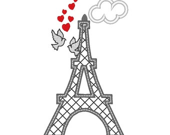 Eiffel Tower - love, hearts - machine embroidery applique and filled designs - 5, 6 and 7 inches  INSTANT DOWNLOAD