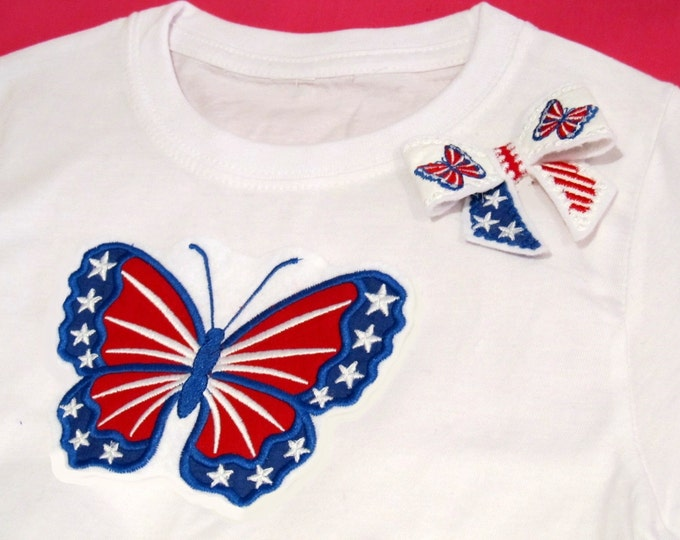 Patriotic Butterfly applique and In the hoop Bow 3D -- machine embroidery applique and ITH design INSTANT DOWNLOAD
