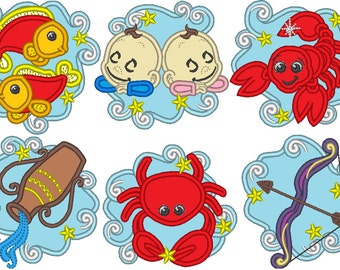 DISCOUNT 30% - 12 Zodiacs - single files - machine embroidery applique designs for hoop 4x4