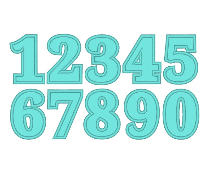 Wide satin stitch Numbers, Birthday numbers set machine embroidery applique designs 2, 3, 4, 5, 6, 7 in BX, PES, VP3, DST, exp, jef & other