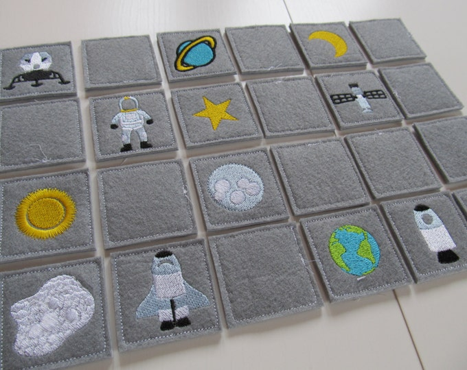 "Memory game ""Space explorer"" machine embroidery design ITH project for hoop 4x4, 5x7, 6x10 INSTANT DOWNLOAD children game space, astronaut"