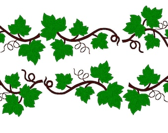 Grape Leaves - SET -machine embroidery applique and filled designs INSTANT DOWNLOAD  assorted 4x4, 5x7 and 6x10