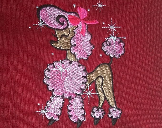 Pretty girly pink Poodle - machine embroidery fill stitch designs - INSTANT DOWNLOAD  sparkling poodle embroidery
