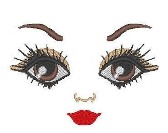 Brown eyes dool face, one type only machine embroidery designs, complete faces and single elements INSTANT DOWNLOAD