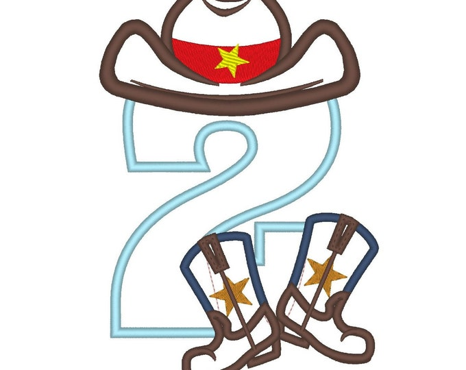 Cowboy Birthday number TWO 2 kicking boots number 2 machine embroidery applique designs for hoop 5x7, sizes 5 and 6 inches INSTANT DOWNLOAD