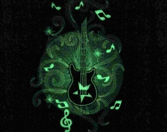 Rock Guitar  in the dark special designed machine embroidery / size  5x7 / file