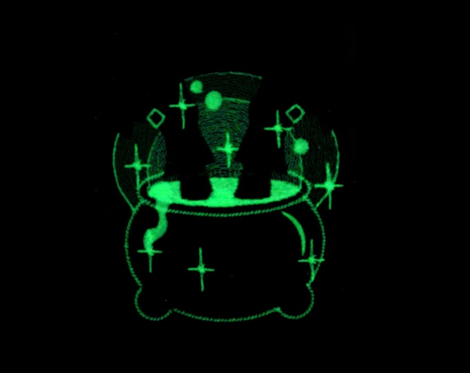 Magic Cauldron and witch legs / Glow in the dark special designed machine embroidery / sizes 4x4 and 5x7 / file  INSTANT DOWNLOAD
