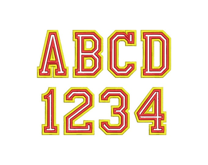 Double high thin Athletic Sport High School Team Players machine embroidery alphabet, BX embroidery font and other embroidery formats