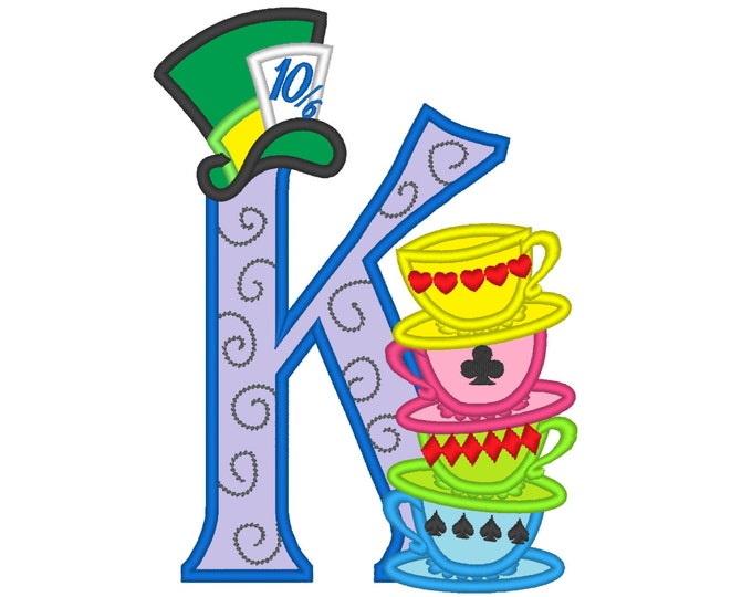 Mad hatter tea party Custom Letter, only one any letter to choose from the set - machine embroidery applique designs 5x7