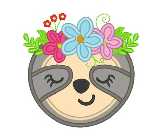 Sloth face, pretty eyes sloth, sloth with flowers crown applique design, Embroidery Applique Design machine embroidery design 4x4 5x7 6x10