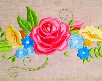 Shabby Chic Flowers rose Bouquet - machine embroidery designs for embroidery hoops 4x4 and 5x7