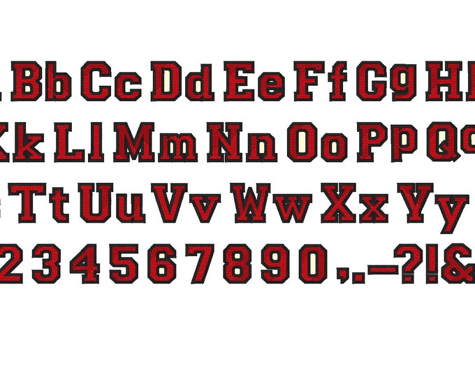 Varsity Collegiate, Collegiate type Font machine embroidery designs - capital letters, letters and numbers, fill stitch BX now inlcuded