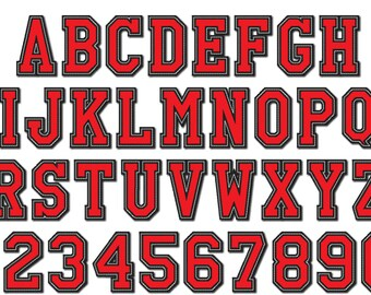 Athletic Sport High School Team Players embroidery applique font - 2, 3, 3, 4, 5 and 6 inches - BX and other embroidery formats