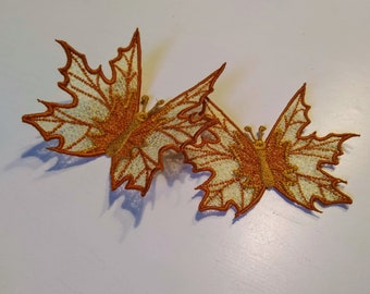 Precious Autumn leaves Butterfly FSL, Free standing lace embroidery design in the hoop ITH embroidery 4x4 5x7 assorted sizes
