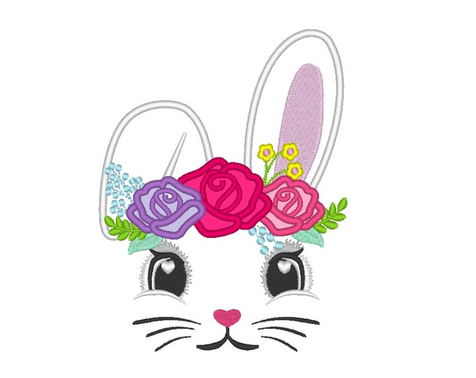 Easter Embroidery Designs Easter Bunny Face Embroidery Design Artapli Easter Bunny Applique, Floral 3 roses crown applique