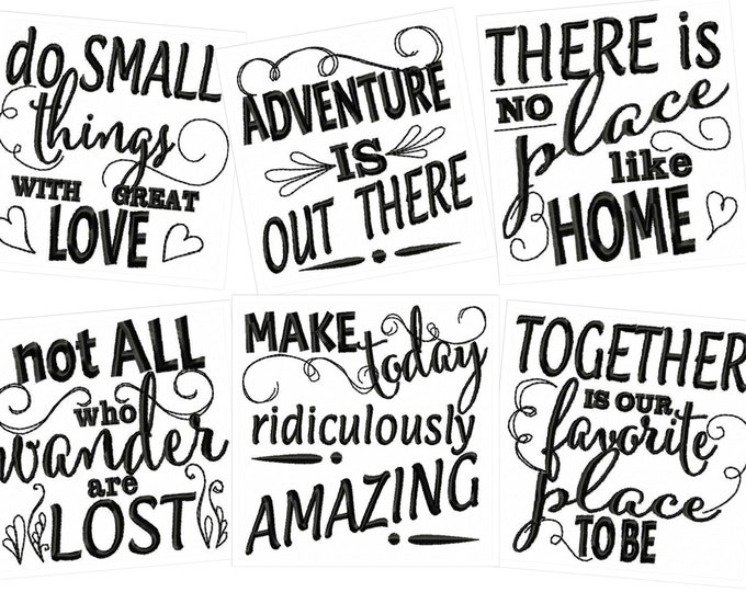 Lovely quotes - machine embroidery designs - 4x4 and 5x7 - kitchen towels embroidery collection  INSTANT DOWNLOAD