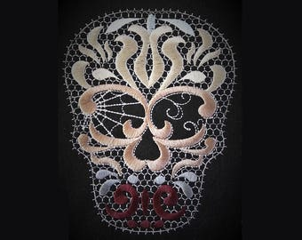lacy swirl Skull embroidery - Skull Machine embroidery designs -  4, 5  and 6 inches  lace awesome embroidery designs