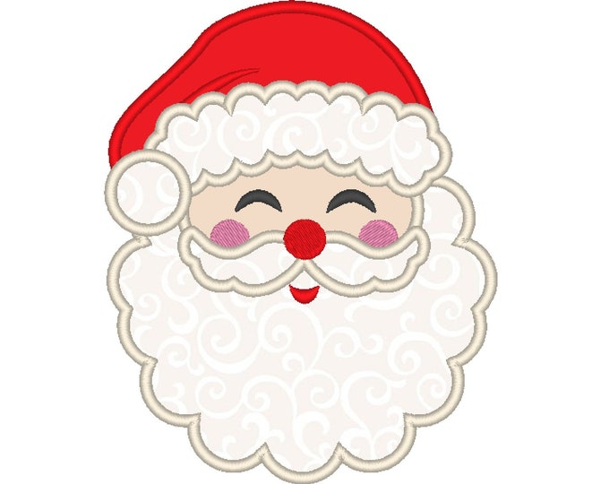 Smiling happy Santa Claus face Santa Hat Applique design  - machine embroidery design - Santa applique embroidery design