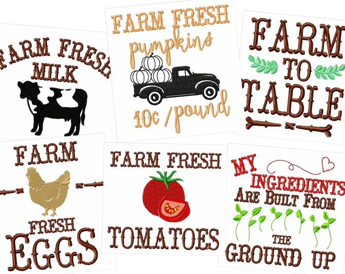Farm Fresh Kitchen cute quotes - machine embroidery designs - 4x4, 5x7  INSTANT DOWNLOAD