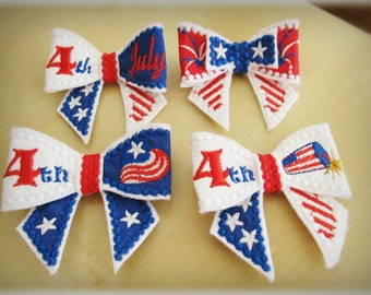 4th of July theme - In the hoop project Bows 3D effect -- machine embroidery ITH design - only for hoop 4x4 now!
