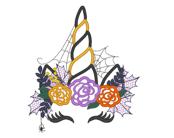 New eyes Witchy Halloween spider Unicorn Witch hat shabby chick roses flowers crown applique machine embroidery designs Rainbow unicorn