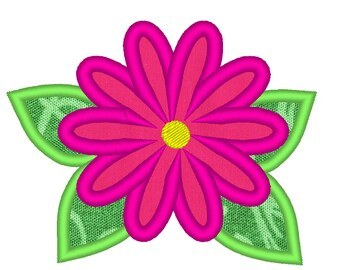 Summer, beautiful flower applique embroidery design multiple sizes / flowers applique designs