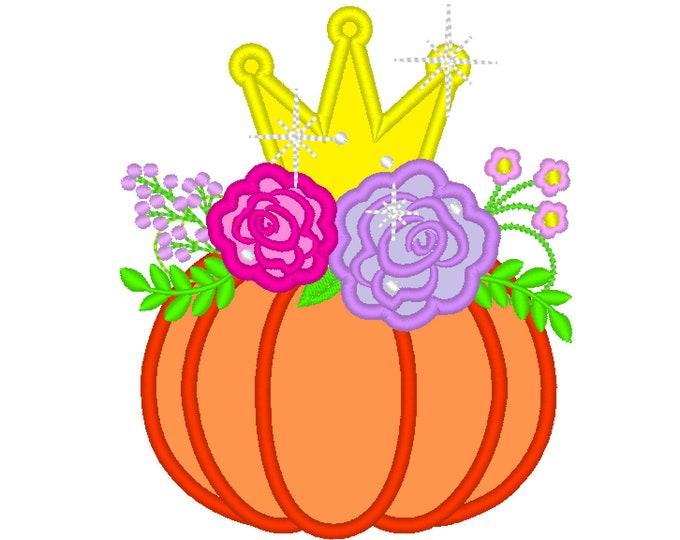 Little pumpkin princess Floral Pumpkin Applique Design Fall Pumpkin Autumn pumpkin with shabby chick roses flowers crown machine embroidery