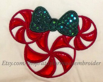 Miss Magic Christmas lollipop - machine embroidery 2 types of applique designs and fill stitch design - 4x4, 5x7