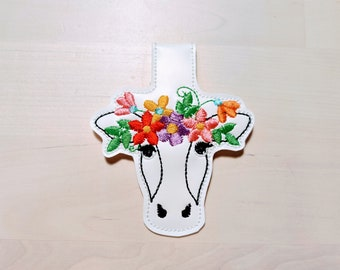 Floral crown cow head, cow head with flowers, key fob, ith key fob, mini embroidery design, key fobs feltie, in the hoop embroidery project