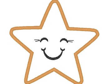 Happy Star machine embroidery applique and filled designs - 4x4 and 5x7  INSTANT DOWNLOAD