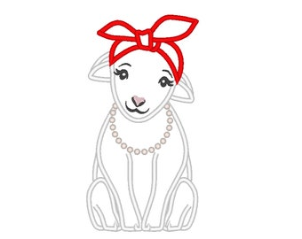 Little lamb, heifer, lamb applique with bandanna handkerchief, machine embroidery applique designs, multiple sizes for hoops 4x4, 5x7, 6x10