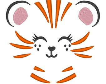 Pretty little Tiger Kitty face machine embroidery design cute baby tiger head embroidery for children kids, assorted sizes INSTANT DOWNLOAD