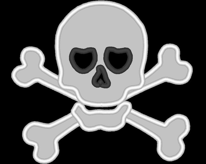 Skull and crossbones - machine embroidery designs and applique designs, sizes for hoop 4x4, 5x7 and 6x10  INSTANT DOWNLOAD