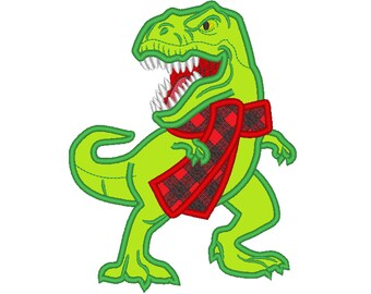 Plaid Checked Christmas scarf T-rex dinosaur  machine applique designs assorted sizes, for hoops 4x4, 5x7, 6x10 gingham