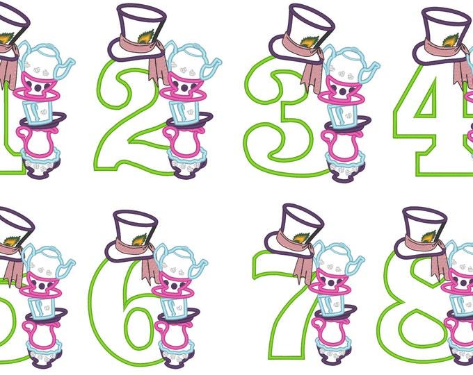 Wonderland Mad Hatter Birthday Numbers machine embroidery applique designs 5x7 whole set