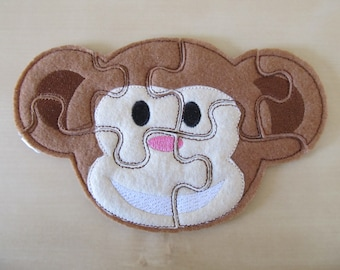 Monkey Puzzle ITH in the hoop - game - machine embroidery applique designs -  5x7 INSTANT DOWNLOAD