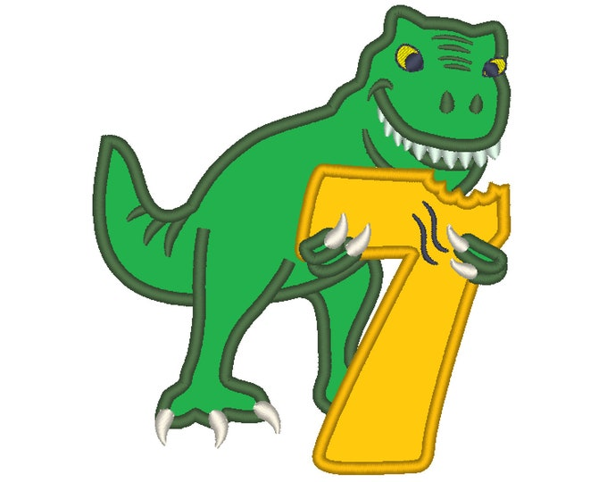 T-rex dinosaur Birthday number seven 7 machine embroidery Birtday outfit designs, assorted sizes, for hoops 4x4, 5x7, 6x10  INSTANT DOWNLOAD