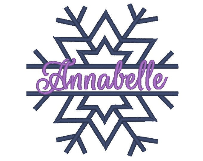 Simple split snowflake winter queen split snowflake embroidery split design and MINI font Machine applique design 4, 5, 6 in circle