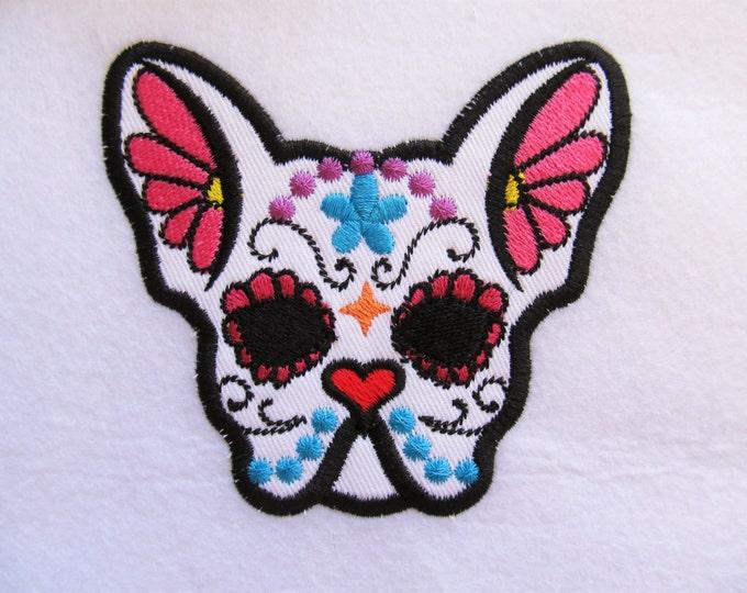 French bulldog Sugar Skull applique design, dog skull machine embroidery design 4x4, 5x7, puppy skull calavera day of the dead applique