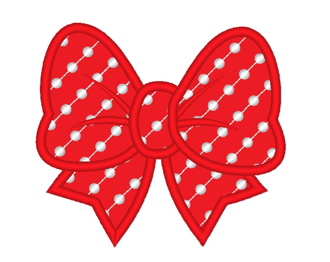 Polka dot little pretty Bow machine embroidery applique designs Bow applique embroidery designs for hoops 2, 3, 4, 5, 6 and 7 inches