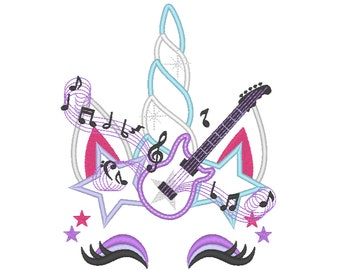 Rock music crown Unicorn with guitar and notes crown applique machine embroidery designs applique Rainbow music embroidery unicorn face